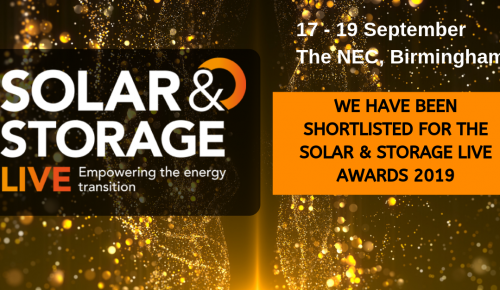 Banner with copy: we've been shortlisted for Solar & Storage Live awards