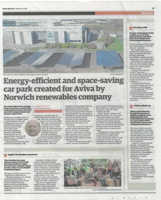 Screenshot of RenEnergy's solar carport at Aviva featured in EDP newspaper
