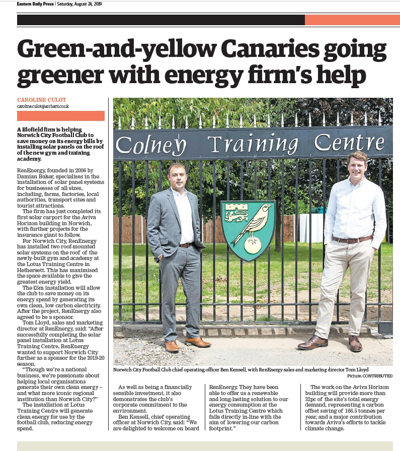 Screen shot of RenEnergy in the EDP newspaper