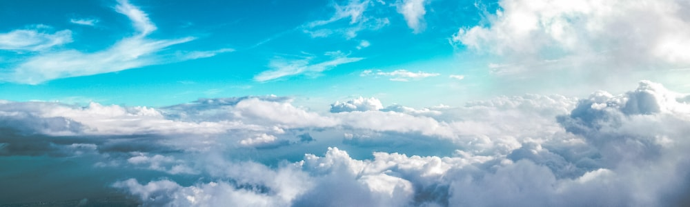blue sky and clouds from above