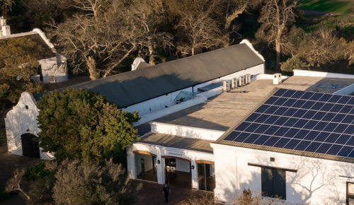 Solar panels on roof of Spier wine estate