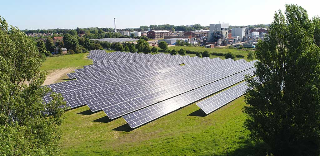 Photo of Briar Chemicals solar panels installed under PPA