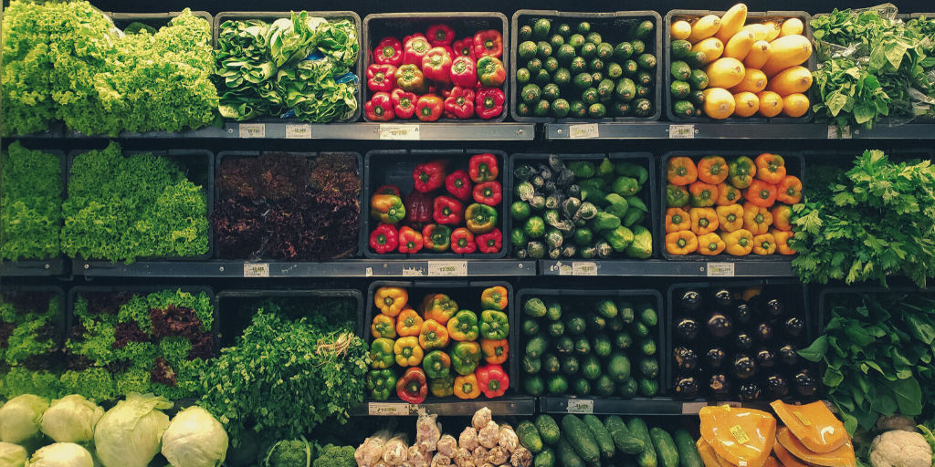 Photo of fresh vegetables in a supermarket